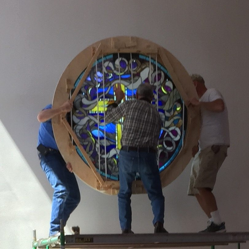 Installing the Beautiful New Window in the Sanctuary